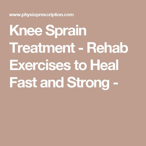 Knee Sprain Treatment - Rehab Exercises to Heal Fast and Strong -