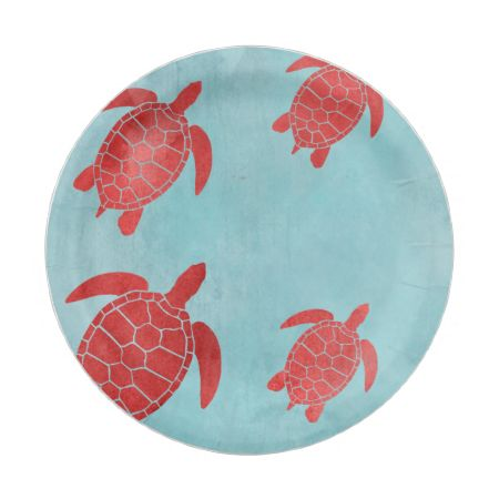 Red and Blue Green Sea Turtle 7 Inch Paper Plate