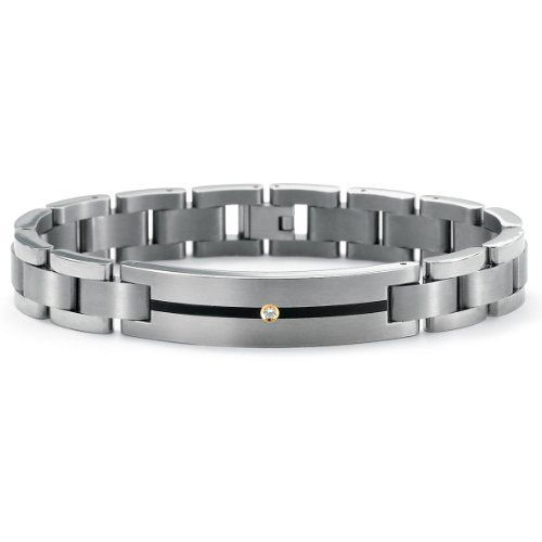"""Mens Round Cubic Zirconia Accent Black ION-Plated Stainless Steel Link Bracelet 8"""" Neno Buscotti. $74.95. Save 33%!"""