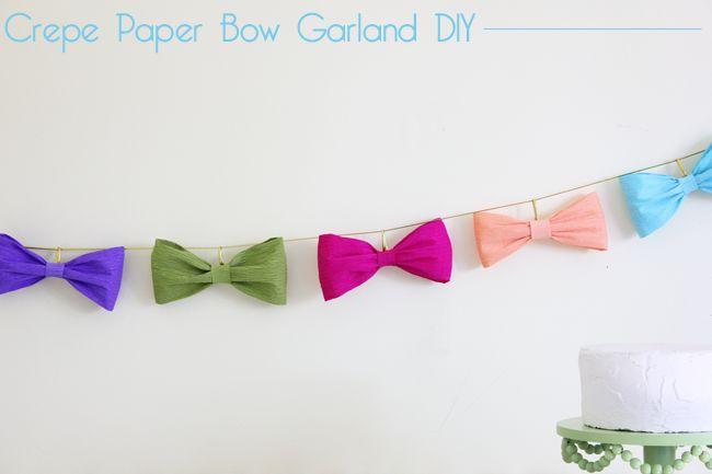 Bow Garland – Crepe Paper DIY tutorial - Guirnalda de moños de papel crepé: Hazlo tu misma!