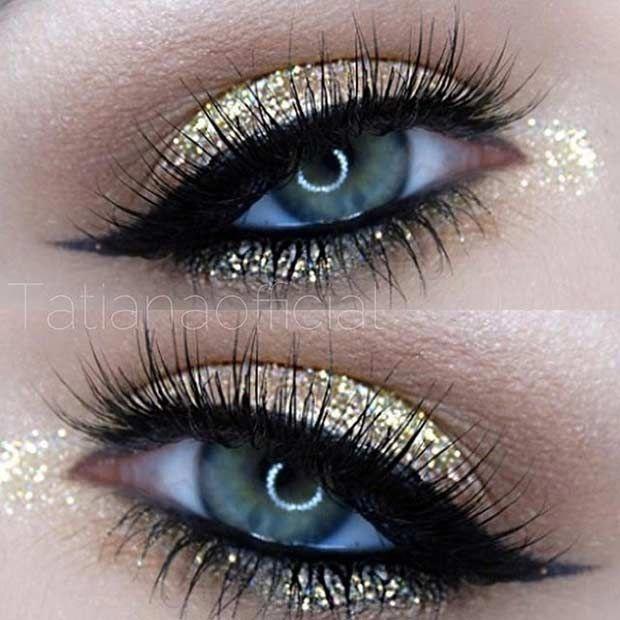 Gold Glitter Eye Makeup Look for Blue Eyes #makeuptips