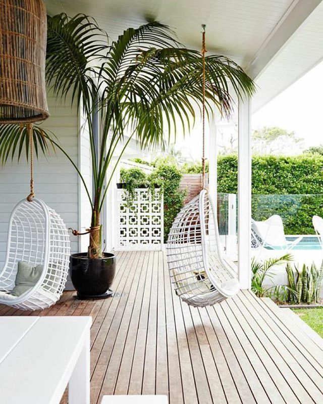 We have been hanging out for the weekend – Happy Sunday everyone! ✌️☁️ #hangingeggchair #palm #tree #backyard #decking