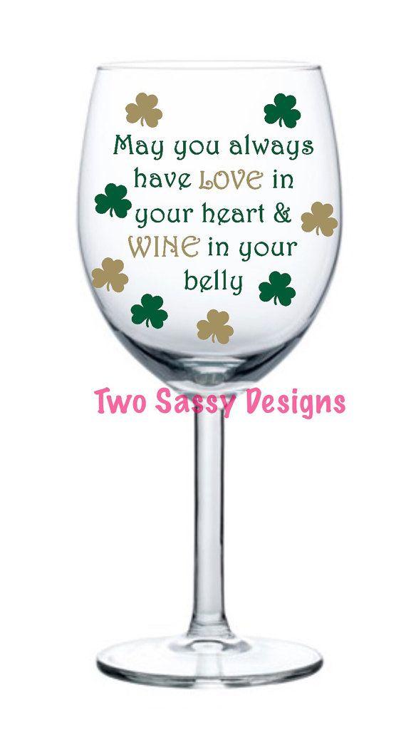 Irish Wine Glass St Patricks Day Wine Glass By