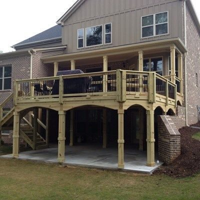 84 best Elevated and raised deck ideas images on Pinterest ... on Deck Over Patio Ideas id=46405