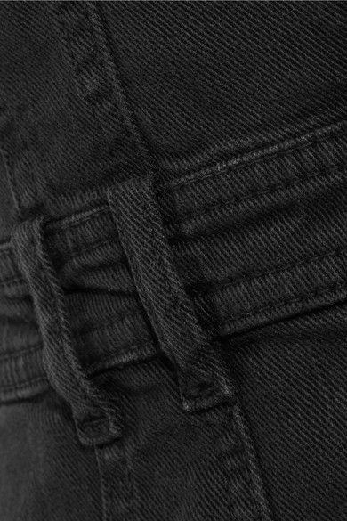 Balmain - Distressed Denim Mini Dress - Black - FR38