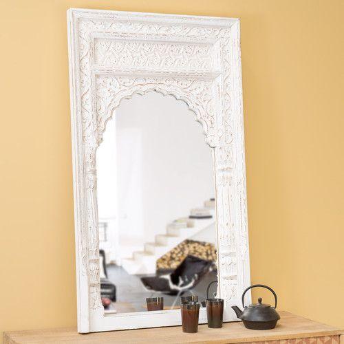 Maison du Monde: Holzspiegel GANDHI im indischen Stil, H 122cm, geweißt