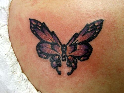 Large New Butterfly Tattoo On Back Shoulder For Girls