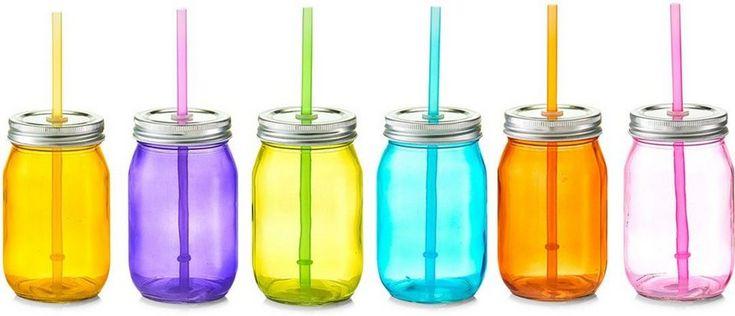 Zeller Present Trinkglas mit Strohhalm, »Color« (6er Set) für 34,99€. Praktisches Trinkglas, Mit Deckel und Strohhalm bei OTTO