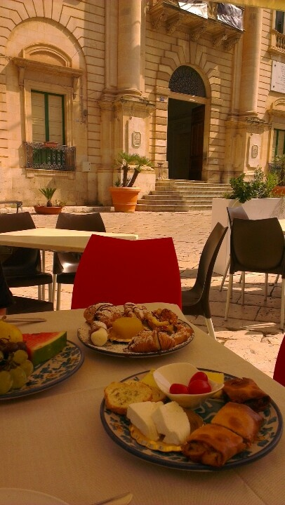 Breakfast at the Millennium Bar, outside Montalbano's police station, Scicli, Sicily