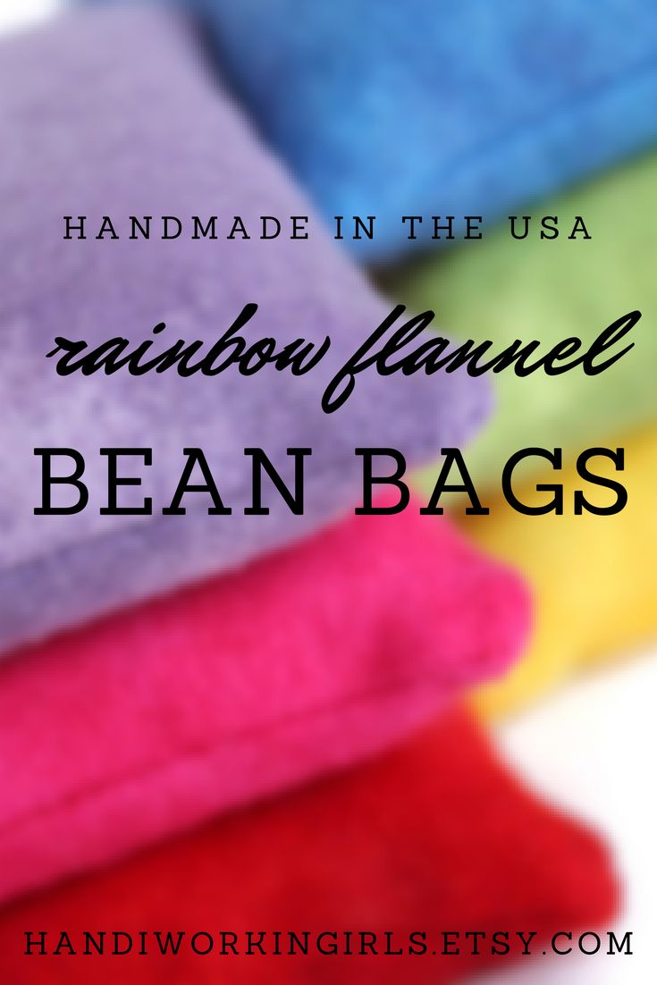 Our handmade flannel bean bags come in a rainbow of six colors - red, hot pink, lavender, blue, green, and yellow - and are perfect for indoor games: https://www.etsy.com/handiworkingirls/listing/168025990/educational-colorful-flannel-bean-bags