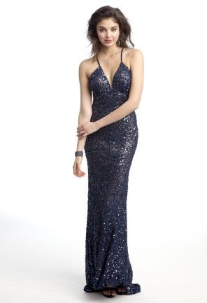 If captivating the crowd with your alluring beauty is all you've been searching for then this evening dress is the perfect choice! A floor-length all sequin dress like this number is ideal as a cocktail dress, a fancy guest of wedding dress, or as a prom dress. Sparkle the night away with a deep V-neck, all open back with crisscross spaghetti straps, and a dramatic shimmering train that will follow as you glide through the party. Pair this glamorous dress with high heel crystal vamp sandals…