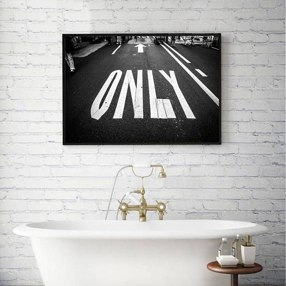 ONLY Road Sign Print City art Urban print Black and White
