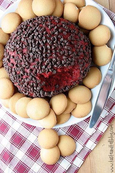 This is the ultimate dip for red velvet lovers! It's a sweet Red Velvet Cheeseball that will have you coming back for more. Don't forget to serve with Nilla Wafers!