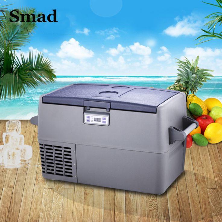 Smad 45 Qt DC12V AC220V/110V Portable Compressor Car Cooler Fridge High Quality Mini Truck Freezer For Camping Hiking