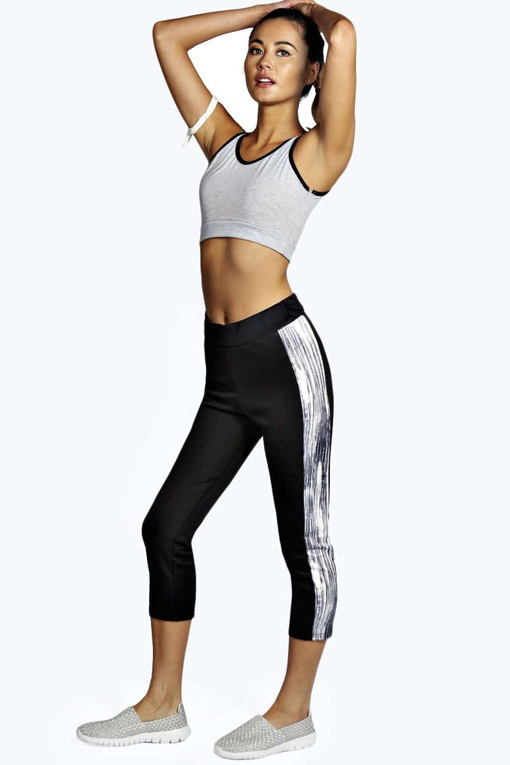 Sophie Monochrome Side Panel 3/4 Sports Leggings alternative image