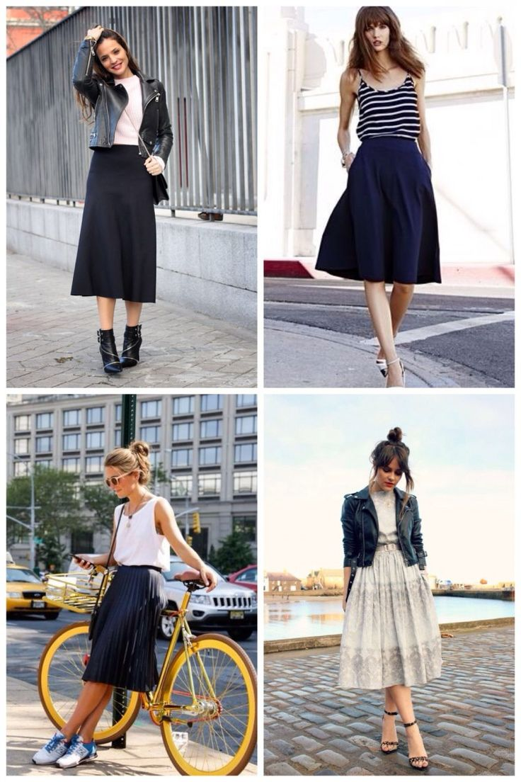 I have a black midi skirt and want some ideas how to wear it!