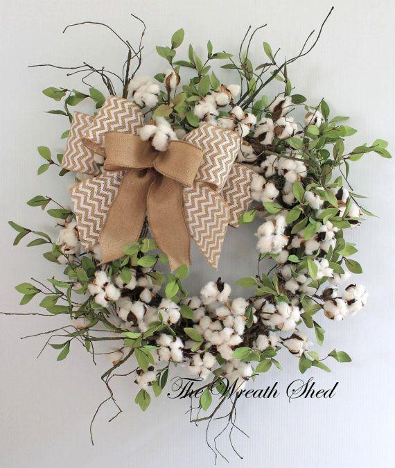 Primitive Cotton Wreath, Cotton Boll Wreath, Raw Cotton Bolls, Anniversary Gift, Southern Decor, Everyday Wreaths, Burlap Bow, Country Decor