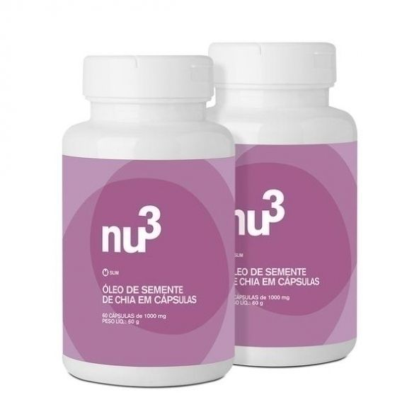 Óleo de Semente de Chia, da Nu3 Slim é um suplemento em cápsula a base do óleo extraído da semente de chia, um superalimento naturalmente rico em ácidos graxos essenciais, como o ômega-3, que nosso corpo não produz, devendo ser obtido a partir da alimentação.