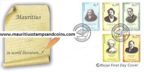 Mauritius Stamps First Day Covers FDC - 8 December 2008 – Mauritius in World Literature