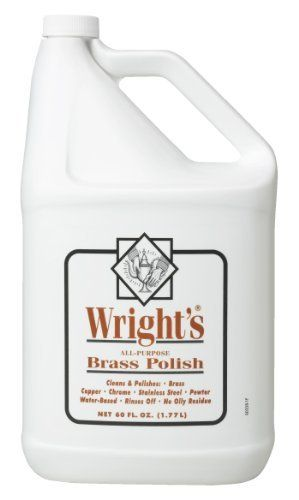 Wright's All Purpose Brass Polish by Wright. Save 6 Off!. $21.24. Detergent blend for cleaning and easy rinsing. Gentle cleaner for tarnish removal without scratching. Industrial size. Designed specifically for brass, Wright's Brass Polish is a water-based liquid polish that eliminates tedious buffing. It does not contain petroleum distillates. Simply polish, rinse and dry to achieve a brilliant, brassy shine. It's ideal for all your fine, unlacquered brass objects.