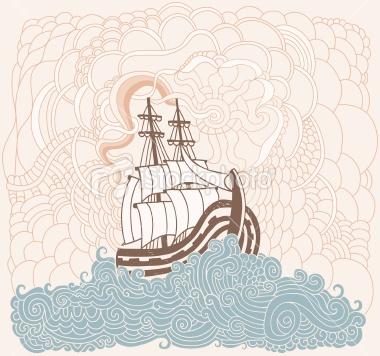 Vague, Mer, Transport nautique, Motif, Eau Illustration vectorielle libre de droits