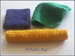 Natas Nest: Simple Dish Cloth, Wiping Cloth, Face Cloth - Free Knitting Pattern / Einfacher Spüllappen, Wischlappen, Waschlappen - Kostenlose Strickanleitung