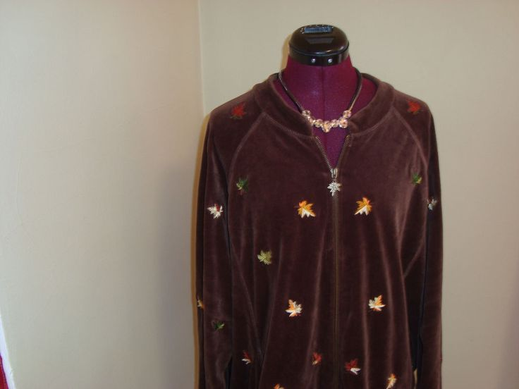 Quacker Factory 2X Women's Brown Velour W/ Maple Leaf Embroidery Zip Up Jacket #QuackerFactory #BasicJacket
