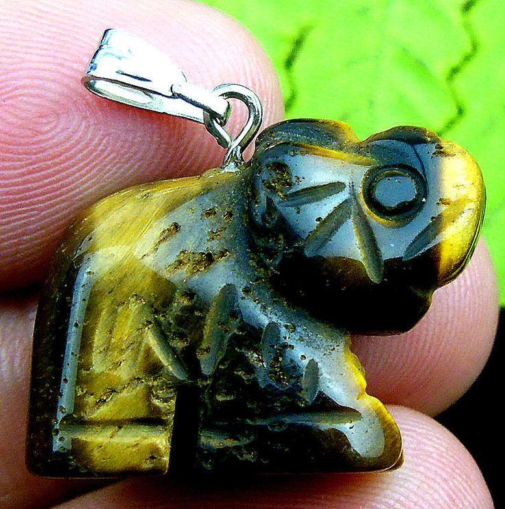 Delicate tiger iron gem carved elephant 25x18x10mm pendant bead T45587 | eBay