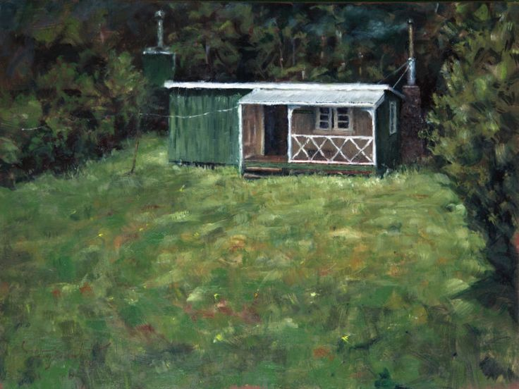 Framptons Hut, Northland, NZ. Oil painting on canvas by Felicity Deverell. The Art of a Hut Collection