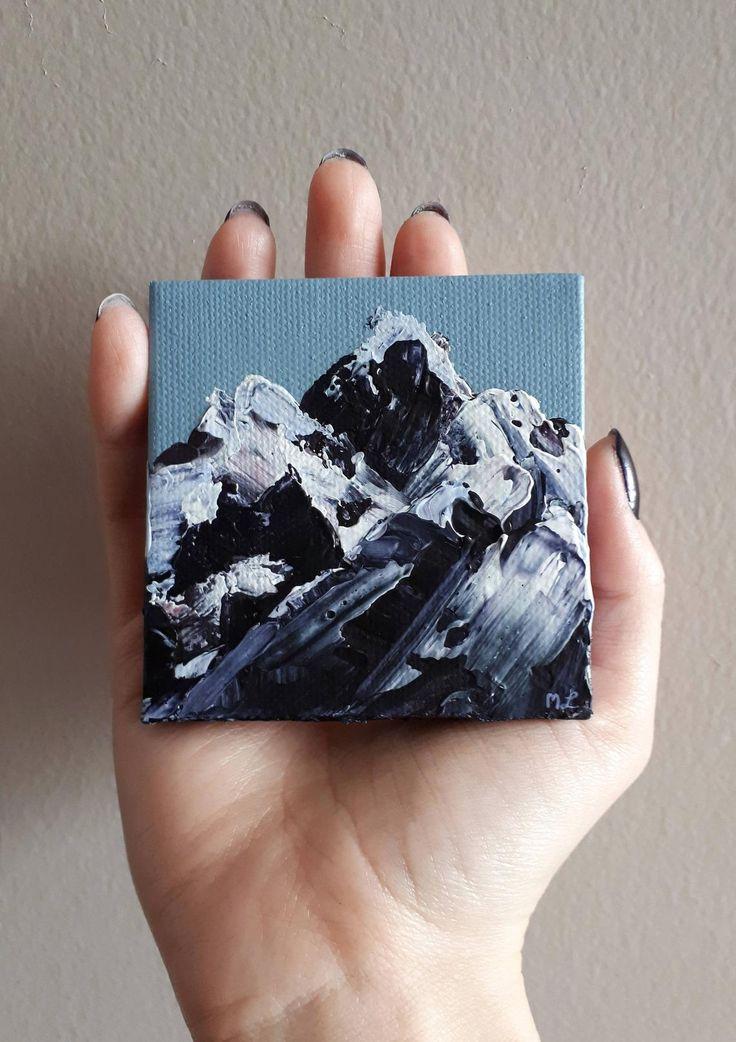 Impasto Mountain Painting, Little Mountain Art, Mountain Art, Snowy Mountain, Mountain Peaks, Mount Everest, Tiny Painting, Impasto Abstract