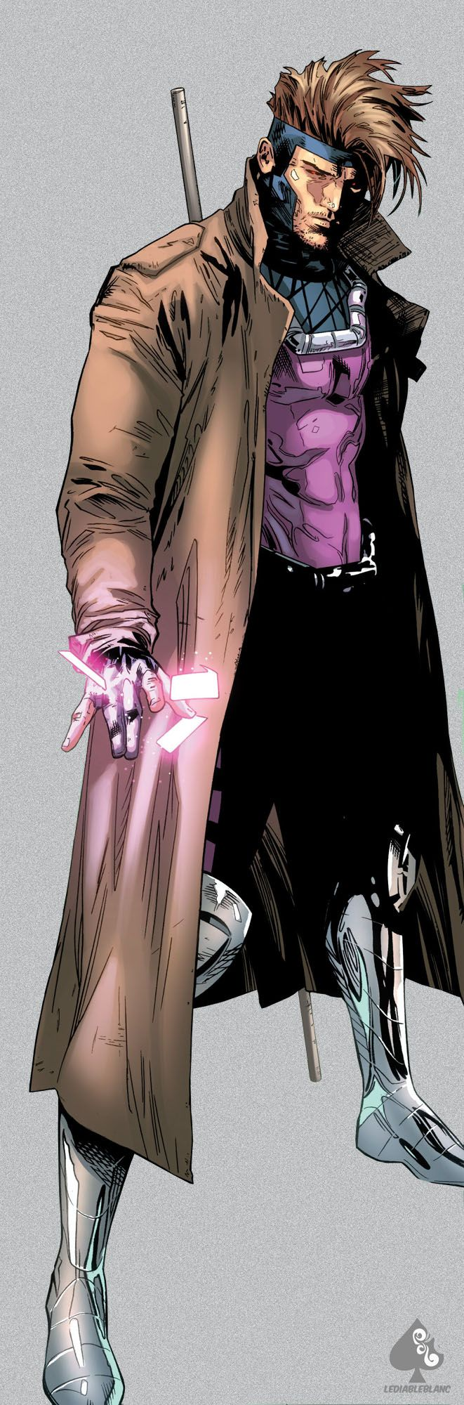 "Gambit by Clay Mann. ""A mutant, Gambit can mentally create, control and manipulate pure kinetic energy to his every whim and desire. He is also incredibly knowledgeable and skilled in card-throwing, hand-to-hand combat, and the use of a bō."" -Wiki"