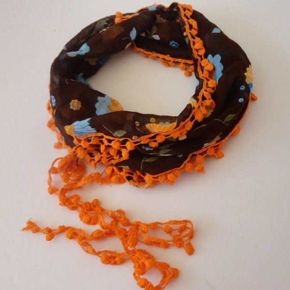 cotton trendscarf women scarf scarves  brown orange by scarvesCHIC, $8.50