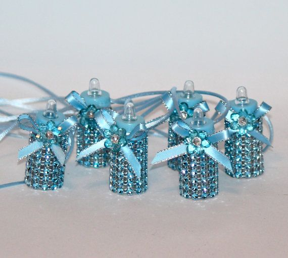 Blue Baby Bottle Necklace 6 Pieces Baby Shower By FavorsBoutique, $20.00