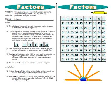 READ MORE HERE: http://www.mathfilefoldergames.com/factors-multiples-factors-composites-and-primes-game/ This fun #Factors Game helps kids to more fully understand what prime factorization is all about. This game helps kids connect the meaning of prime numbers, composite numbers, greatest common factor, prime factorization, and least common multiple. Common Core 6.NS.4