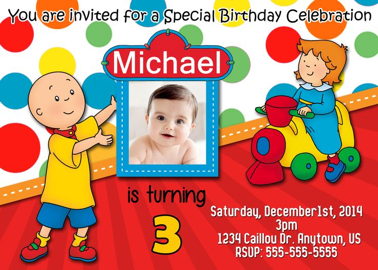 7 best Caillou Birthday Invitations and party supplies images on - best of invitation for 1st birthday party free