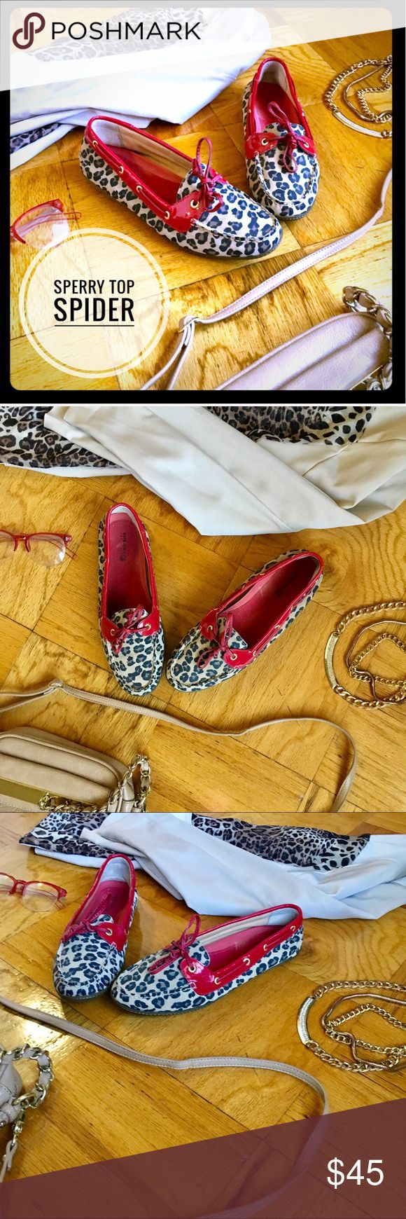 SPERRY RED/CHEETAH PRINT LEATHER BOAT SHOES SZ 9.5 PREOWNED‼️STILL IN VERY GOOD CONDITION💋SPERRY TOP SPIDER RED AND CHEETAH LEOPARD PRINT LEATHER BOAT SHOES WITH GOLD ACCENTS🚨WORN WITH LOVE, SOLES ARE LIKE NEW JUST LOOKING FOR A NEW HOME🤗GRAB THESE CUTIES TODAY OR BUNDLE FOR A GREAT DEAL💗 💋SIZE 9.5 💋TAN, BLACK, BROWN PRINT 💋RED LEATHER LINING AND SHOE STRINGS Sperry Top-Sider Shoes Flats & Loafers