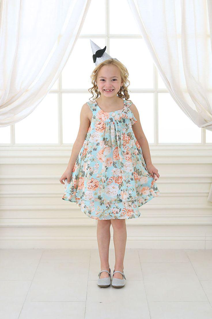 Аква шифон цветочные печати платье девушки цветка