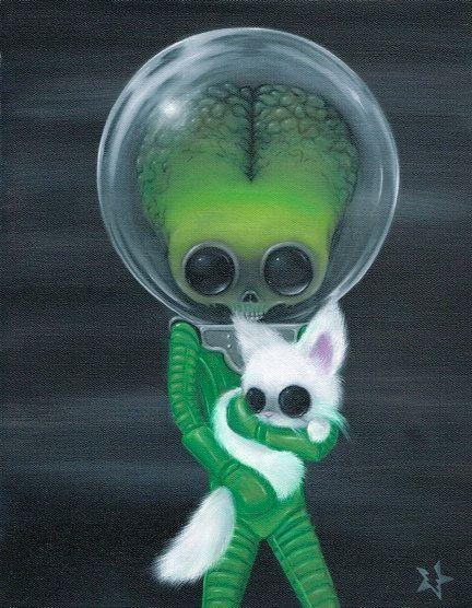 Lowbrow Sugar Fueled Mars Attacks Alien Martian Cat Kitty Keane creepy cute big eye art print