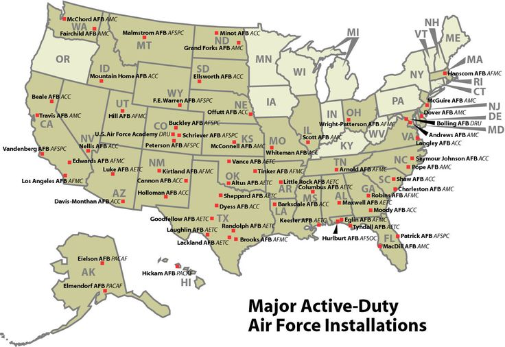 map of air force bases in united states. Exactly what I need for our road trip!!