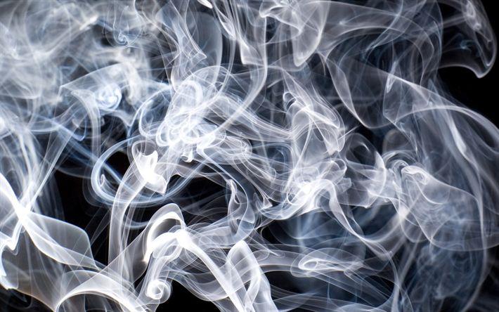 Download wallpapers white smoke, texture, black background, smoke