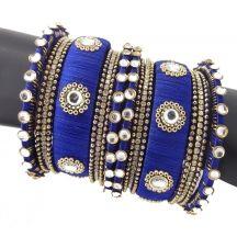 9blings Bridal Blue 18 Pc Cz Gold Plated Silk Thread Bangle Set Tr34