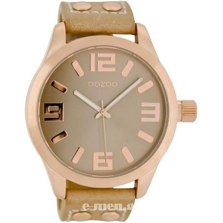 E-MEN Ρολόγια - OOZOO 45mm Unisex Sand Leather Strap C1151