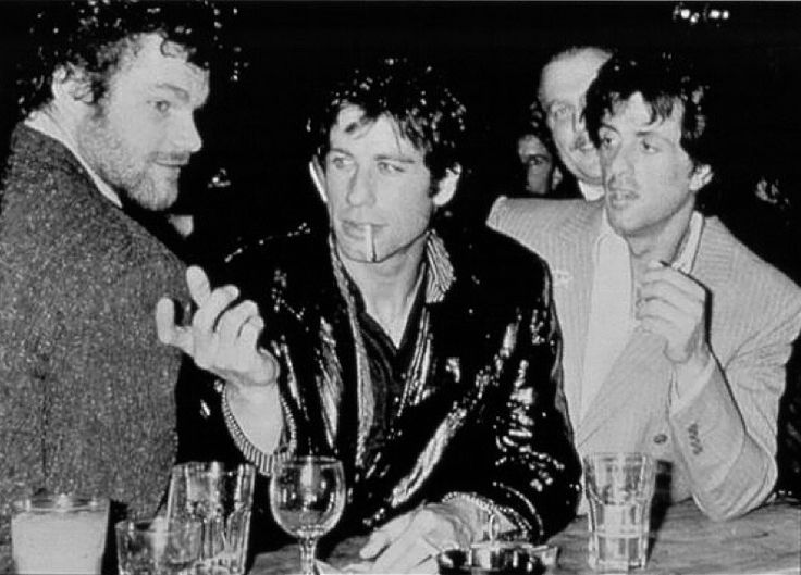 David Keith, John Travolta and Sylvester Stallone at Studio 54