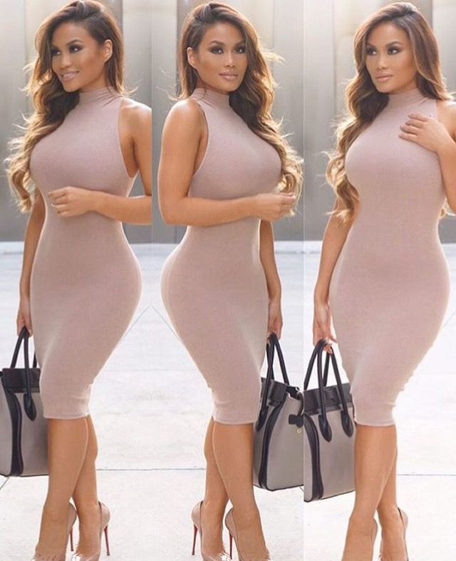 @Daphnejoy in HMS - Dress available here: http://www.hotmiamistyles.com/Blushed_Nude_Knit_Ribbed_Mock_Neck_Dress_p/9054ldblushednude.htm