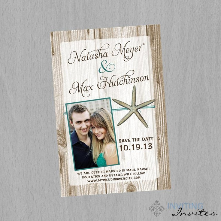 destination wedding save the dates and invitations%0A Save the Date Postcard Starfish Beach Tropical Destination Wedding