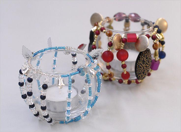 teelichter mit perlen basteln geschenke weihnachten. Black Bedroom Furniture Sets. Home Design Ideas