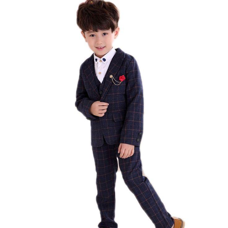boys clothing sets 2017 new spring baby boy clothes sets plaid boys wedding blazer jackets + vest +pants 3 pcs boy clothing set