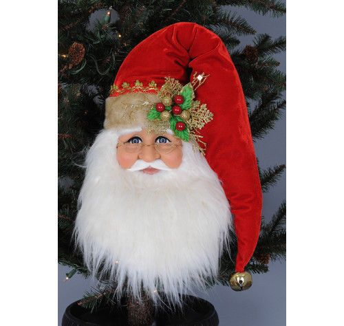 Santa Claus Head Face Poinsettia Door Wall Hanging Christmas Decor Kris Kringle   eBay