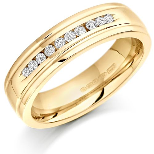 House of Williams 9ct Yellow Gold Ladies 5mm Wedding Ring with 10 Channel Set Diamonds and Grooved Edges Set with 15pts of Diamonds