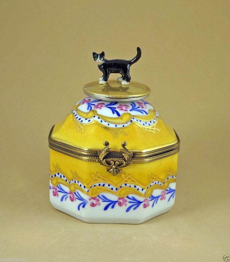 PLAYS MUSIC MUSIC BOX NEW FRENCH LIMOGES BOX & TUXEDO BLACK KITTY CAT KITTEN KEY